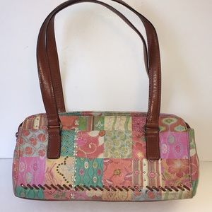 Fossil leather baguette shoulder bag purse floral
